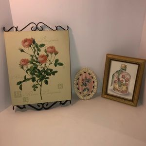 Vintage looking rose pictures plaques wall decor